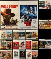 4m020 LOT OF 26 UNFOLDED AND FORMERLY FOLDED BELGIAN POSTERS 1950s-1980s variety of movie images!