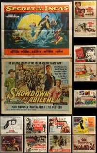 4m025 LOT OF 15 FORMERLY FOLDED HALF-SHEETS 1940s-1960s great images from a variety of movies!