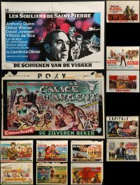 4m021 LOT OF 13 MOSTLY FORMERLY FOLDED BELGIAN POSTERS 1950s-1960s a variety of movie images!