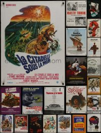4m018 LOT OF 24 FORMERLY FOLDED FRENCH POSTERS 1960s-1970s a variety of movie images!