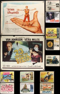 4m026 LOT OF 13 UNFOLDED HALF-SHEETS 1950s-60s great images from a variety of different movies!
