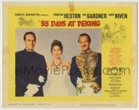 4p004 55 DAYS AT PEKING LC #2 1963 best portrait of Charlton Heston, Ava Gardner & David Niven!