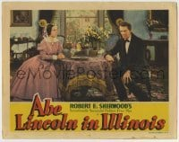 4p006 ABE LINCOLN IN ILLINOIS LC 1940 Ruth Gordon looks at worried Raymond Massey across table!