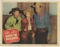 4p010 ACROSS THE BADLANDS LC #2 1950 Charles Starrett, Smiley Burnette & Helen Mowery with guns!