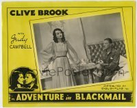 4p013 ADVENTURE IN BLACKMAIL photolobby 1943 Clive Brook, Judy Campbell, from Pressburger story!