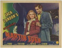 4p018 ADVENTURES OF MARTIN EDEN LC 1942 best c/u of Glenn Ford holding Claire Trevor from behind!