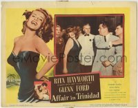 4p022 AFFAIR IN TRINIDAD LC 1952 close up of Glenn Ford slapping sexy Rita Hayworth!