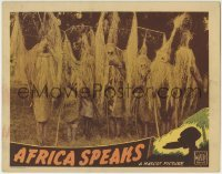 4p024 AFRICA SPEAKS LC R1930s natives wearing cool grass masks, the strangest romance ever filmed!