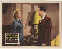 4p032 ALL ABOUT EVE LC #8 1950 close up of Celeste Holm staring at Hugh Marlowe, Mankiewicz!