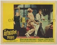 4p035 ALLIGATOR PEOPLE LC #4 1959 great image of Lon Chaney Jr. punching George Macready!
