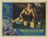 4p036 AMAZING COLOSSAL MAN LC #7 1957 he is sitting in a room that is way too small for him!