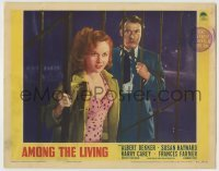 4p038 AMONG THE LIVING LC 1941 scared Albert Dekker watches Susan Hayward enter the gate!