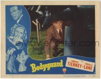 4p103 BODYGUARD LC #6 1948 close up of Lawrence Tierney crouching as he snoops around, film noir!