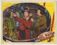 4p104 BOHEMIAN GIRL LC 1936 Stan Laurel & Oliver Hardy stealing man's purse through deception!