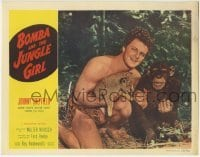 4p105 BOMBA & THE JUNGLE GIRL LC 1953 close up of Johnny Sheffield holding baby leopard & Kimbbo!