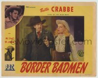 4p108 BORDER BADMEN LC 1945 Charles King makes cowgirl Loraine Miller wait as he opens the door!