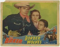 4p109 BORDER WOLVES LC 1938 c/u of Bob Baker with gun drawn by Constance Moore & Dickie Jones!