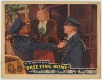 4p118 BREEZING HOME LC 1937 two police officers arrest Wendy Barrie as she exits her carriage!