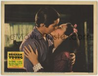 4p119 BRIGHAM YOUNG LC 1940 close up of Tyrone Power kissing 16 year-old Linda Darnell!
