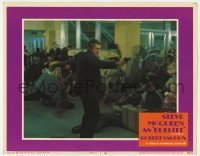 4p123 BULLITT LC #3 1968 crowd hits the floor as Steve McQueen draws his gun at airport!
