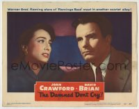 4p205 DAMNED DON'T CRY LC #4 1950 close up of worried Joan Crawford looking at Kent Smith!