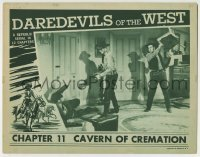 4p209 DAREDEVILS OF THE WEST chapter 11 LC 1943 Rocky Lane attacked from behind, Cavern of Cremation!