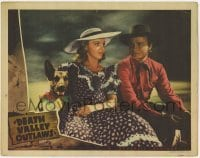 4p221 DEATH VALLEY OUTLAWS LC 1941 c/u of Don Red Barry sitting with pretty Lynn Merrick & dog!