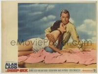 4p224 DEEP SIX LC #1 1958 close up of Alan Ladd & sexy Dianne Foster on sandy beach!