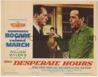 4p234 DESPERATE HOURS LC #4 1955 c/u of Humphrey Bogart arguing with Fredric March, William Wyler