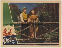 4p236 DESTINY LC 1944 great image of pretty Gloria Jean & Alan Curtis on wooden bridge with bird!