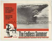4p289 ENDLESS SUMMER LC 1967 Bruce Brown, Robert August riding large wave over Mike Hynson, rare!