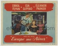 4p294 ESCAPE ME NEVER LC 1948 c/u of Errol Flynn playing accordion by pretty Eleanor Parker!