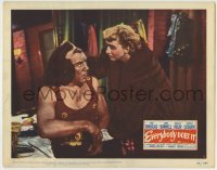 4p295 EVERYBODY DOES IT LC #4 1949 Celeste Holm visits Paul Douglas in costume backstage!