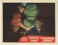 4p301 FEATHERED SERPENT LC 1948 guy in pith helmet threatens Mantan Moreland with knife by idol!