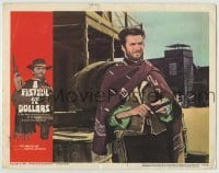 4p310 FISTFUL OF DOLLARS LC #8 1967 best close up of Clint Eastwood with sirape & gun, classic!