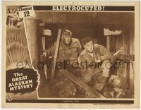 4p372 GREAT ALASKAN MYSTERY chapter 12 LC 1944 c/u of two guys trapped in mineshaft, Electrocuted!