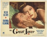 4p375 GREAT LOVER LC #1 1949 best romantic close up of Bob Hope & sexy Rhonda Fleming!