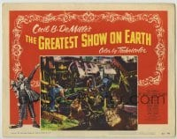 4p377 GREATEST SHOW ON EARTH LC #5 1952 Cecil B. DeMille classic, c/u of lions leaving trainwreck!