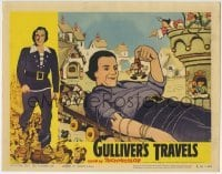 4p380 GULLIVER'S TRAVELS LC R1957 great close up of giant with Liliputian, Max & Dave Fleischer!