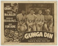 4p382 GUNGA DIN LC #2 R1949 smiling close up of Cary Grant, Douglas Fairbanks Jr. & Victor McLaglen!