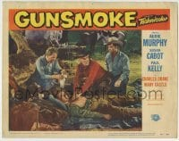 4p383 GUNSMOKE LC #8 1953 cowboy Audie Murphy watches Paul Kelly tend to wounded man on ground!