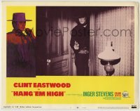 4p388 HANG 'EM HIGH LC #1 1968 close up of Clint Eastwood standing in doorway pointing gun!