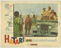 4p391 HATARI LC #4 1962 John Wayne, Kruger, Elsa Martinelli & others in jeep by African natives!