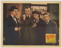 4p396 HE HIRED THE BOSS LC 1942 Stuart Erwin & Evelyn Venable listen to Hugh Beaumont with phone!