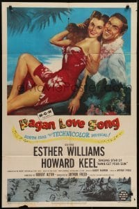 4s726 PAGAN LOVE SONG 1sh 1950 art of sexy Esther Williams in sarong w/ Howard Keel in Tahiti!