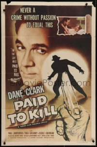 4s727 PAID TO KILL 1sh 1954 Dane Clark is the guy who paid to kill himself, cool image!