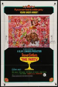 4s732 PARTY style B 1sh 1968 Peter Sellers, Blake Edwards, great art by Jack Davis!