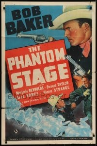 4s738 PHANTOM STAGE 1sh 1939 cool images of cowboy Bob Baker on stagecoach & in shootout!