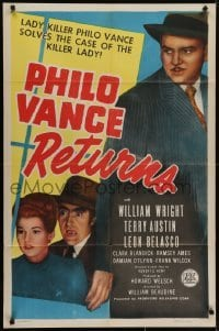 4s739 PHILO VANCE RETURNS 1sh 1947 lady-killer detective William Wright solves the case!