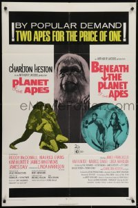4s743 PLANET OF THE APES/BENEATH THE PLANET OF THE APES 1sh 1971 2 apes for the price of 1!
